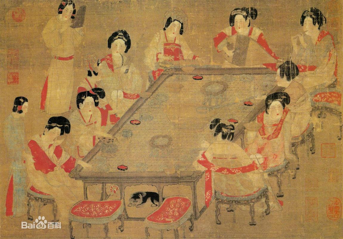 唐代 作为封建社会最为辉煌的时代,也是 仕女画 的繁-唐宫仕女图大图片