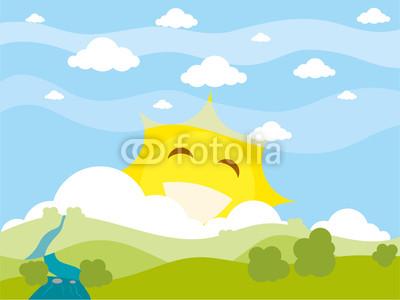 有太阳的卡通图片图片大全 卡通背景 卡通树 卡通太阳 卡